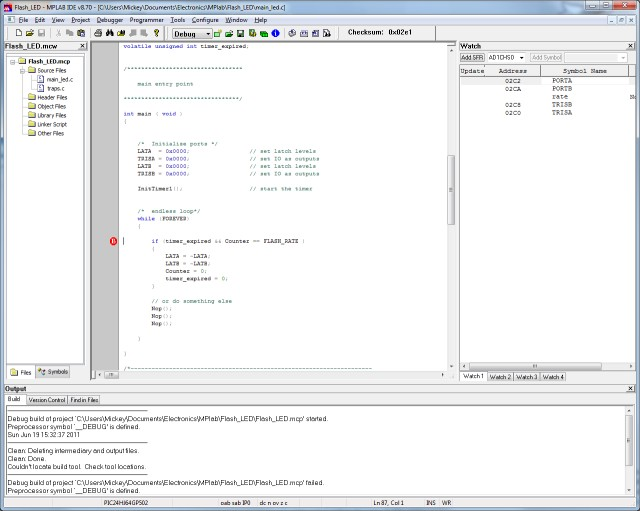 MPLAB IDE Screenshot