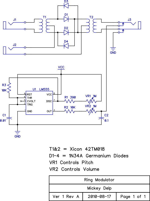 ring modulator prototype mickey delp dot com rh mickeydelp com Frequency Modulation Circuit Frequency Modulation Circuit